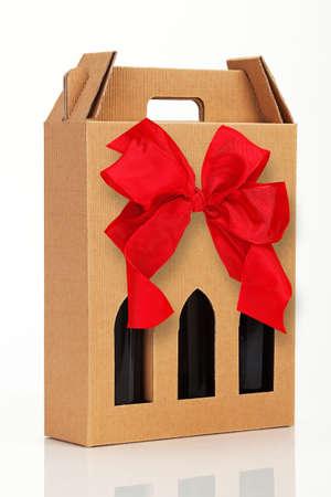 wine gift: Wine gift box with red bow.