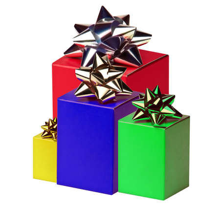 Group of gift boxes with bows photo