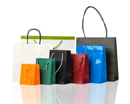 Several shopping bags on white Stock Photo