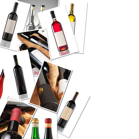 vins: Collage of several wine bottles with space for your logo or text