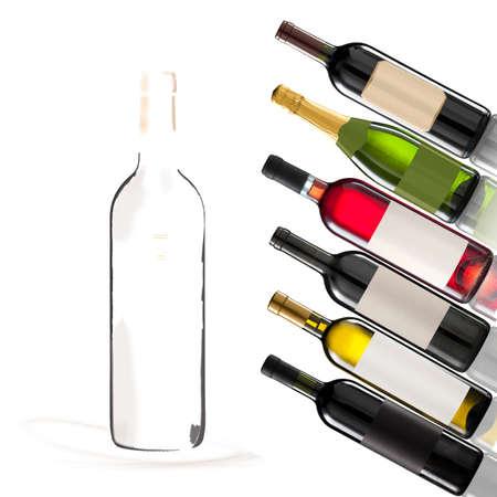 Collage van verschillende wijnflessen met ruimte voor uw logo of tekst