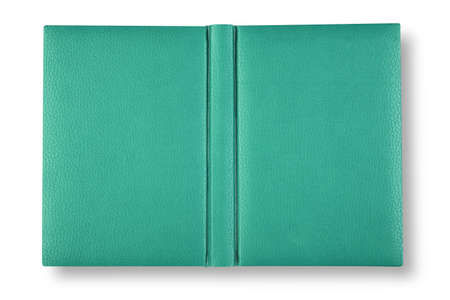 Green leather book cover on white with shadow. Stock Photo