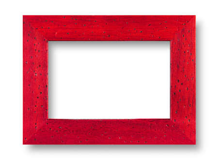 Wood red frame on white with shadow photo