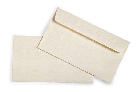 Close-up of an envelope and card  on white with shadow. photo