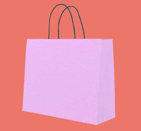 Violet shopping bag on red photo