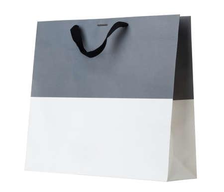 Gray and white shopping bag on white. Stock Photo