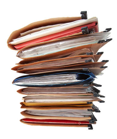 Stack of hanging file folders. Stock Photo