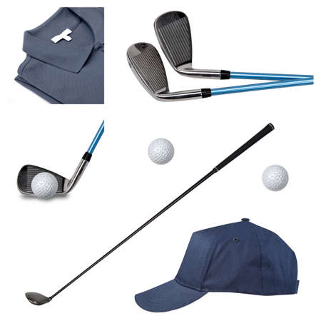 Collage of photos of glolf clubs, polo cap and ball on white