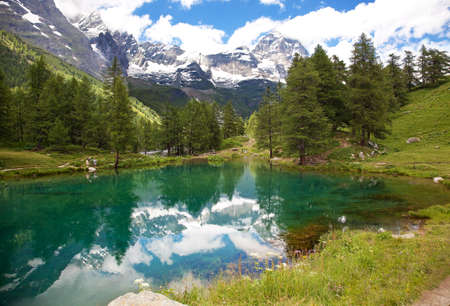 Cervinia  Breuil, Valle d'Aosta, Italy. A view of Lake Blue.