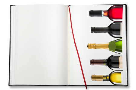 white wine bottle: Open blank exercise book  on white with shadow (clipping path) Stock Photo