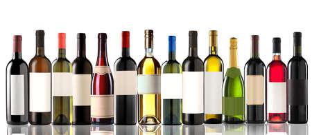 Group of several bottles on white
