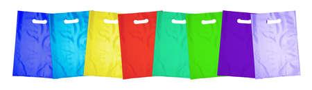 Acht plastic zakken op wit Stockfoto