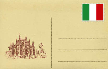 Back of vintage postcard with Italian flag and Duomo of Milan. photo