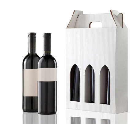 wine gift: Wine gift box and two bottles Stock Photo
