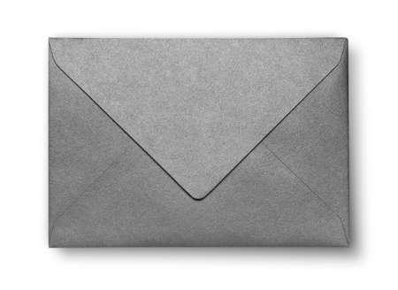 Close-up van grijze envelop op wit met schaduw