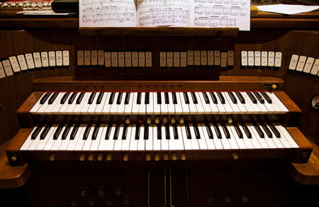 church interior: Keyboard of an organ in a church