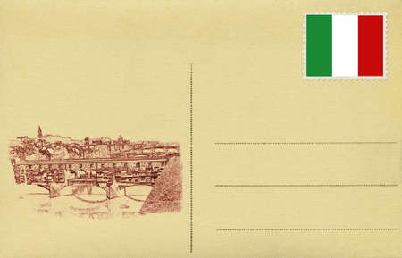 Back of vintage blank postcard with Italian flag and Ponte Vechio of Florence photo