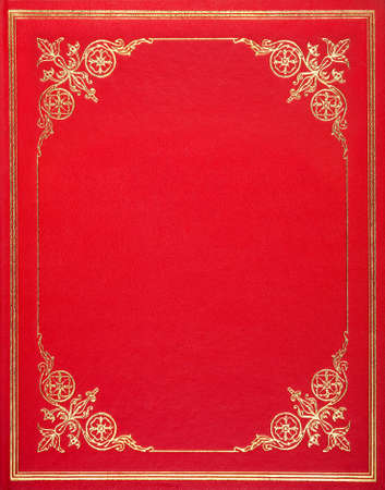 Red leather book cover Stock Photo