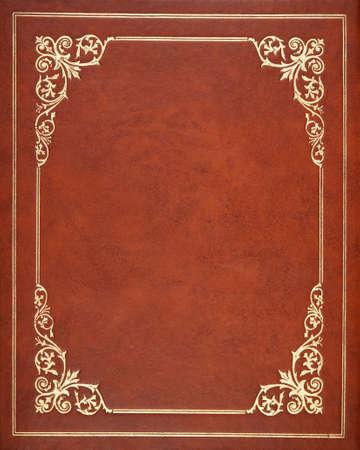 Brown lederner Bucheinband Standard-Bild - 24917500