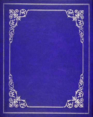 Blauw lederen cover van het boek