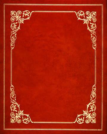 赤い革製ブックカバー 写真素材