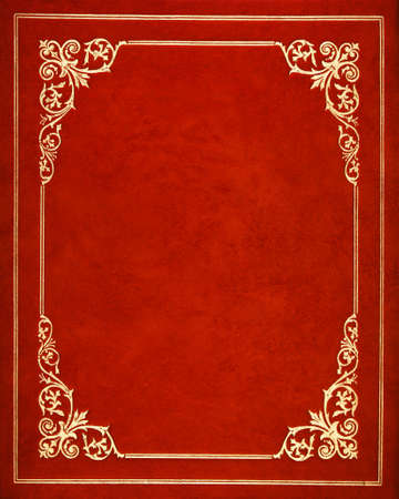 Red leather book cover Standard-Bild