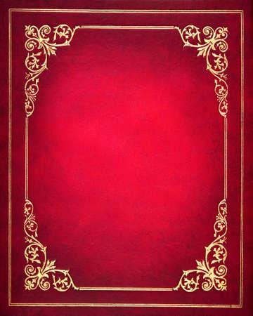 赤と金色の革製ブックカバー