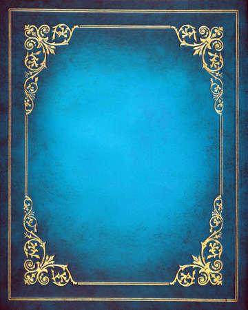 Blauwe en gouden lederen cover van het boek