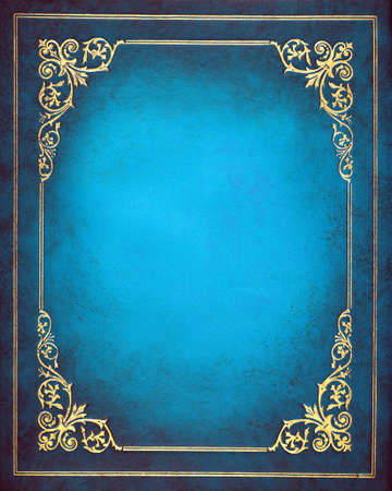 Blue and golden  leather book cover