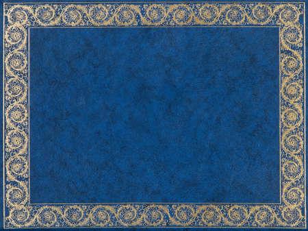 ampara: Cubierta azul y oro libro de cuero