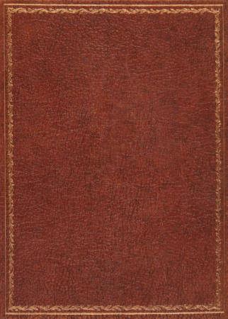茶色の革のブックカバー 写真素材