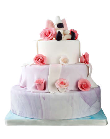 Close Up Wedding Or Birthday Cream Cake With Violet Flowers On