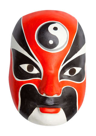 Red, white and black Chinese mask photo