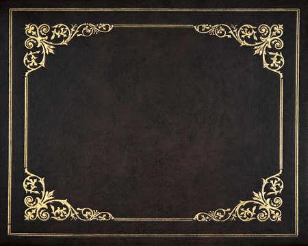 Donkere lederen cover van het boek