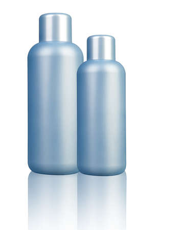 Two plastic bottle with soap or shampoo with space Stock Photo - 27280882
