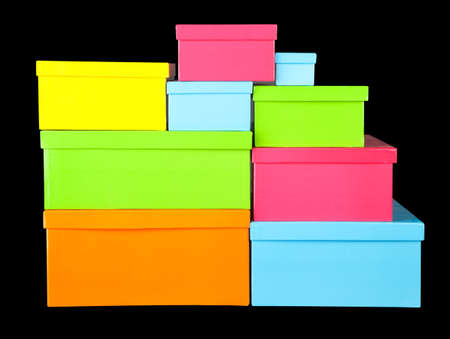 Gift boxes on black background photo