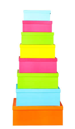 Stack of boxes isolated on white background photo