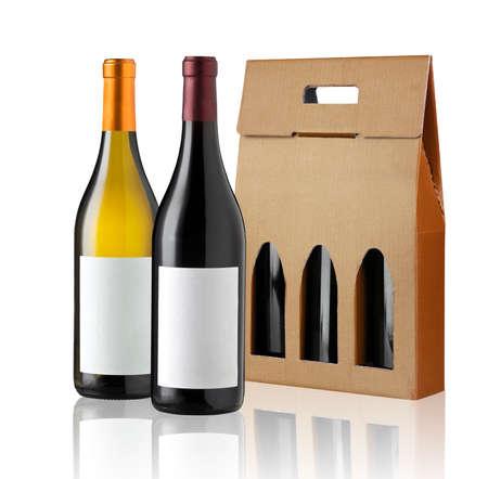 Wijn gift box en twee flessen Stockfoto