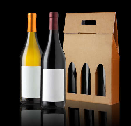 Wine gift box and two bottles Stock Photo