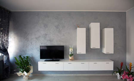 Modern interior (gray, white and black)