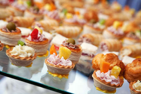 Food for cocktail  on wedding party at hotel photo