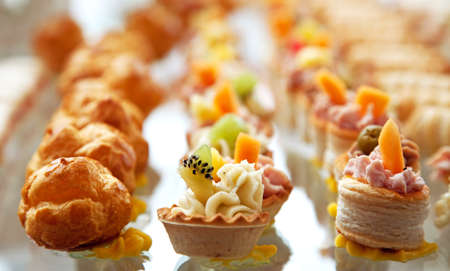 Food for cocktail  on wedding party at hotel Stock Photo