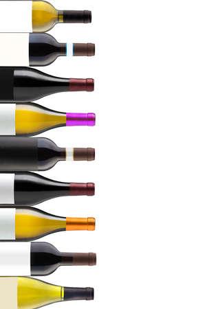 Groep van negen flessen wijn geïsoleerd op wit met ruimte voor uw logo of tekst Stockfoto