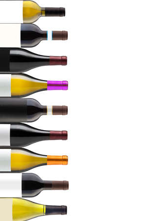 Group of nine wine bottles isolated on white with space for your logo or text Stok Fotoğraf