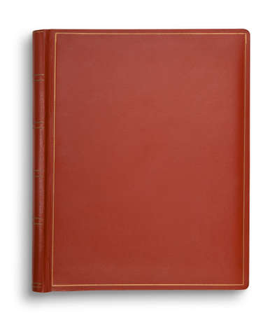 Brown leather book isolated on white with shadow Stok Fotoğraf