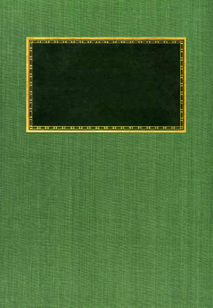 Green book cover with blank label