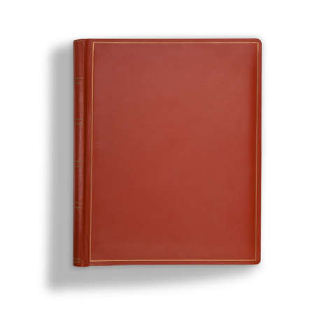 background cover: Brown leather book cover on white with long shadow
