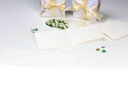 Blank wedding invitation with white boxes photo