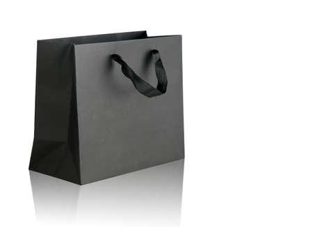 흰색에 검은 쇼핑 가방입니다.