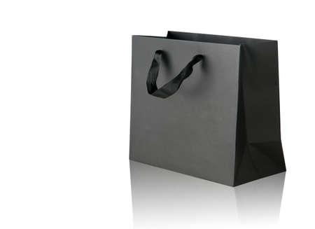 Zwarte boodschappentas op wit. Stockfoto